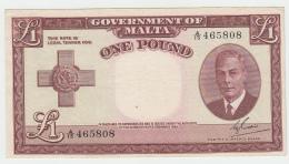Malta 1 Pound 1949 (1951) VF++  Pick 22 - Malte