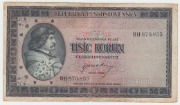 """Czechoslovakia 1000 Korun 1945 """"F"""" Pick 65a - Tchécoslovaquie"""
