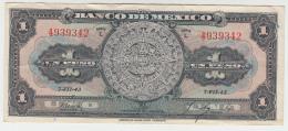 Mexico 1 Peso 7-VII- 1943 VF+ Pick 38a 38 A Series L - México