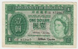 HONG KONG 1 DOLLAR 1954 VF+ Pick 324 - Hong Kong