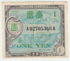 Japan 1 Yen Banknote 1945 VF+ Pick 67 WWII - Japan
