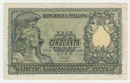ITALY 50 Lire 1951 VF+ Pick 91a 91 A - 50 Lire