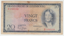 LUXEMBOURG 20 FRANCS 1955 VF Pick 49 - Luxembourg