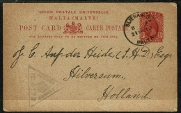 RB 1226 -  1919 Censored Postal Stationery Card - Sliema Malta To Holland - Stamp Collector - Malta