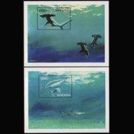 TANZANIA 1999 - Scott# 1886-7 S/S Sharks MNH - Tanzania (1964-...)