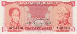Banknote Venezuela 5 Bolívares - Simón Bolívar - Francisco De Miranda - Panteon Nacional - 1989 - Venezuela