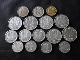 MONACO . Louis II . LOT De 16 Pièces Alu Et Bronze-alu : 1943 - 1945 - 1946 . Joints 3 Pièces Rainier III 1956-1965-1966 - Monaco