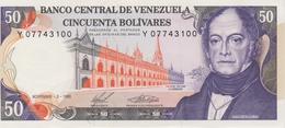 Banknote Venezuela 50 Bolívares - Andrés Bello - Palacio De Las Academias - Central Bank - Coat Of Arms - 1988 - Venezuela