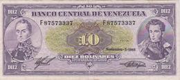 Banknote Venezuela 10 Bolívares - Simón Bolívar - Mariscal Sucre - Altar De La Patria - Carabobo - Coat Of Arms - 1988 - Venezuela