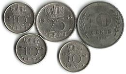 Lot 5 Pièces De Monnaie 10 Et  25 Cents - [ 3] 1815-… : Royaume Des Pays-Bas