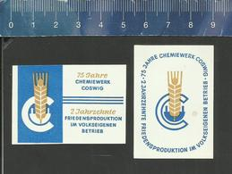 75 JAHRE CHEMIEWERK COSWIG  Matchbox Labels Former DDR 1975 - Boites D'allumettes - Etiquettes