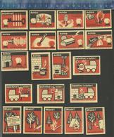 FIRE PREVENTION BRANDSCHUTZ PROTECTION CONTRE L'INCENDIE  FER À REPASSER POUSSETTE TRAIN ETC. Matchbox Labels Former DDR - Boites D'allumettes - Etiquettes