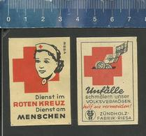 1955 RODE KRUIS RED CROSS CROIX ROUGE CERVENY KRIZ ROTES KREUZ NURSE INFIRMIÈRE DDR Matchbox Labels - Boites D'allumettes - Etiquettes