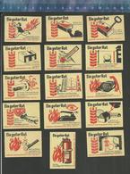 FIRE PREVENTION  BRANDSCHUTZ PROTECTION CONTRE L'INCENDIE FER À REPASSER EXTINCTEUR TéLéPHONE Matchbox Labels Former DDR - Boites D'allumettes - Etiquettes