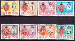 ISLE OF MAN 1975 SG #D9-D16 Compl.set Used Postage Due - Isle Of Man