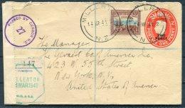 1941 New Zealand Uprated Stationery Cover Millerton School - New York, USA. Censor. Railway ? - 1907-1947 Dominion