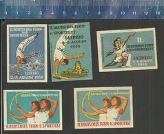 LEIPZIG II DEUTSCHES TURN UND SPORTFEST 1956 ( TURNEN GYMNASTICS GYMNASTIQUE ATHLETICS  ) OLD Matchbox Labels DDR - Boites D'allumettes - Etiquettes