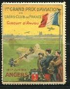 L@@K - RARE ViGNETTE *** De 1912 -ANGERS Les 16 Et 17 Juin - 1er Grand Prix D'Aviation De L'Aéro Club De France - Erinnophilie
