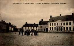 59-BAILLEUL...PETITE PLACE...PALAIS DE JUSTICE..ROUTE DE METEREN...CPA ANIMEE - Francia