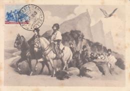 San Marino 1949 Maxicard Scott #C57 2l Giuseppe, Anita Garibaldi Entering San Marino - Poste Aérienne