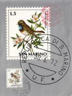 San Marino 1972 Maxicard Scott #781 5l White-spotted Bluethroat Birds INTERPEX New York - Saint-Marin
