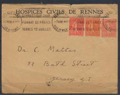 Frankreich Brief SST Sport Gymnasik 1936 Rennes-Gare Nach Jersey - Ohne Zuordnung