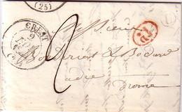 DROME - CREST - 2 NOVEMBRE 1844 - BOITE RURALE U DE ISLE - TAXE MANUSCRITE 2 - DECIME ROUGE  - TEXTE AVEC SIGNATURE CHAR - 1801-1848: Precursors XIX