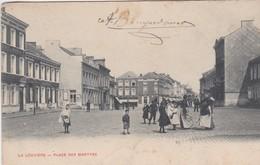 LA LOUVIERE-PLACE DES MARTYRS-EDIT.PAPETERIE MODERNE-CARTE PRECURSEUR-ENVOYEE-1905-VOYEZ LES 2 SCANS-RARE ! ! ! - La Louvière