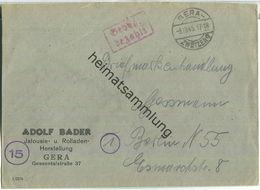 Brief Aus Gera-Zwötzen Vom 03.10.1945 Mit 'Gebühr Bezahlt' Stempel B5a In Rot - Zone Soviétique