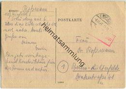 Postkarte Aus Eisfeld Vom 08.11.1945 Mit 'Gebühr Bezahlt' Stempel B4a In Rot - Zone Soviétique
