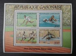 GABON 1988 SOUVENIR SHEET SS BLOC YT YVERT 56 BLOCK TENNIS SEOUL OLYMPIC GAMES SWIMMING ATHLETICS KOREA MNH - Tennis