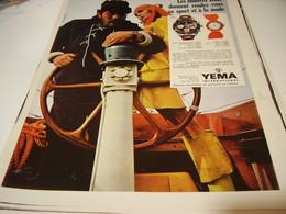ANCIENNE PUBLICITE  MONTRE YEMA 1969 - Jewels & Clocks