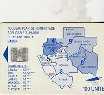 Gab21  Map Of Gabon Blue 100u - Gabon