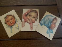 Drie Stuks  Kinder Postkaarten  Illu. Door   MARIAPIA - Kindertekeningen