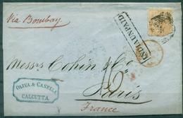 INDE  Lettre De CALCUTTA Pour PARIS Février 1859 Arr Mars 59. Via Bombay Ct Rouge Au Verso. - 1858-79 Compagnie Des Indes & Gouvernement De La Reine