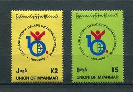 MYANMAR BIRMA BURMA 1999 Mi # 343 - 344 ORGANIZATION OF THE DISABLED MNH - Myanmar (Burma 1948-...)