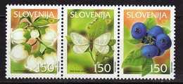 Slovenia 2002 Fruit Species In Slovenia - Forest Blueberry.butterflies.strip. MNH - Slovénie