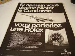 PUBLICITE AFFICHE MONTRE ROLEX  ET CONCORDE 1969 - Autres