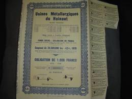 """Obligation De 1000F""""Usines Métallurgiques Du Hainaut""""Couillet 1938 Très Bon état,annulée,reste Des Coupons - Industrie"""