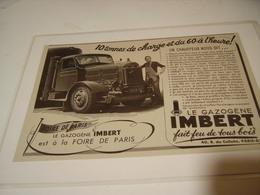 ANCIENNE  PUBLICITE LE GAZOGENE IMBERT 1941 - Camions