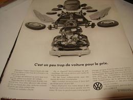 ANCIENNE PUBLICITE VOITURE KARMANN GHIA DE WOLKSWAGEN 1969 - Cars