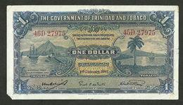 THE GOVERNMENT OF TRINIDAD AND TOBAGO 1 DOLLAR 1943 BANKNOTE P-5c - Trinidad & Tobago