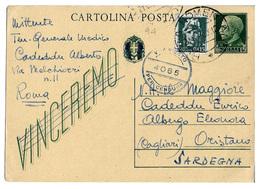 Cartolina Postale - Vinceremo (cent. 15 + C. 15) - Regno D'Italia - Intero Postale 94. 1944 - 1900-44 Vittorio Emanuele III