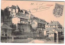 Marcophilie 1906 Sage N° 87 Seul Sur Carte Postale Uzerche Cachet Gare De Limoges à Destination De Cote D' Or - Marcophilie (Lettres)