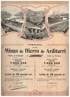 Ancienne Action -Compañia De Las Minas De Hierro De Arditurri  - Titre De 1905 N°02436 - Mines