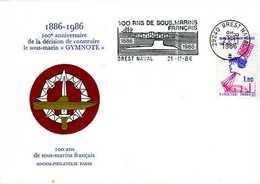 Enveloppe Philatélique Anniversaire Construction Sous Marin Gymnote 1986 Flamme Brest Naval (29) - Militaria