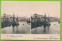 LONDRES - N° 14 - La Tamise - La Douane - Série N° 2 Vues Stéréoscopiques Julien Damoy - River Thames