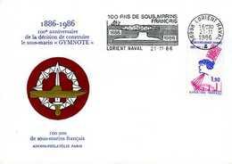 Enveloppe Philatélique Anniversaire Construction Sous Marin Gymnote 1986 Flamme Lorient Naval (56) - Militaria