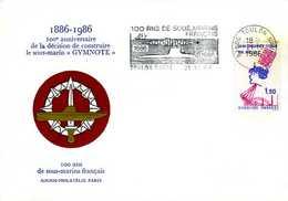 Enveloppe Philatélique Anniversaire Construction Sous Marin Gymnote 1986 Flamme Toulon Naval (83) - Militaria
