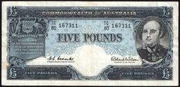 AUSTRALIA 5 POUNDS ND (1960-65's) PREFIX TC/80 COOMBS-WILSON P#35 - Emissions Gouvernementales Pré-décimales 1913-1965